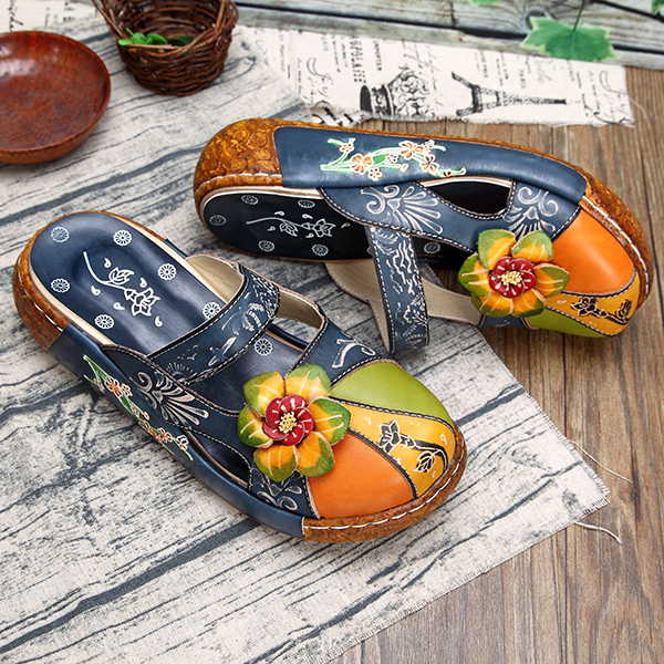 flower leather shoes